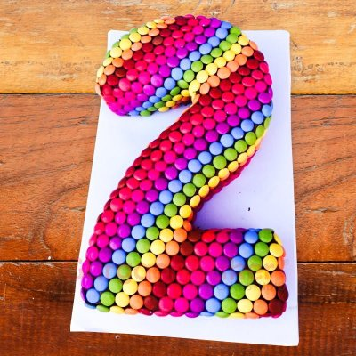 colourful gems number cake