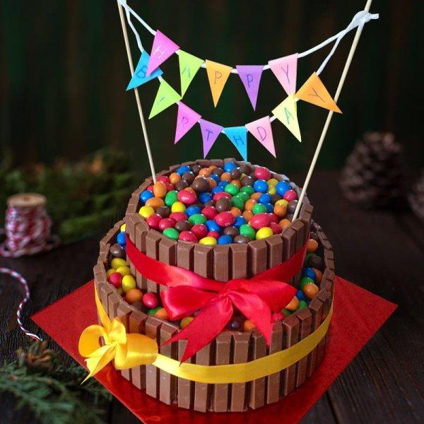 happy birthday banner cake