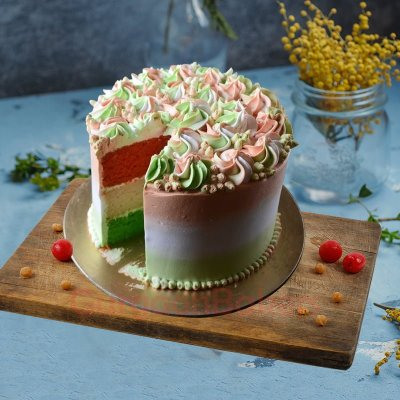 surprise inside flag cake