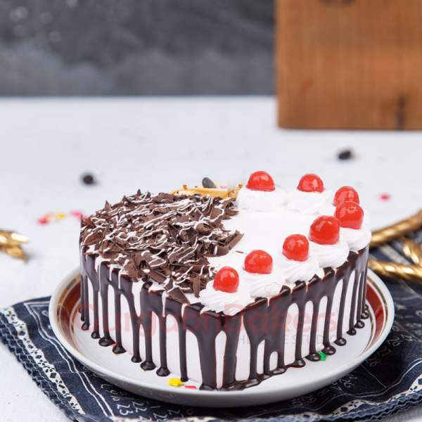 dazzling heart shaped black forest cake order in Gurgaon