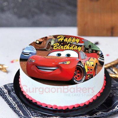 lightning mcqueen photo cake