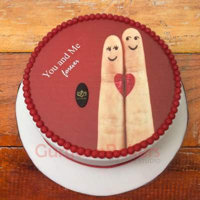 you and me heart cake