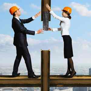 Two accountants working in construction