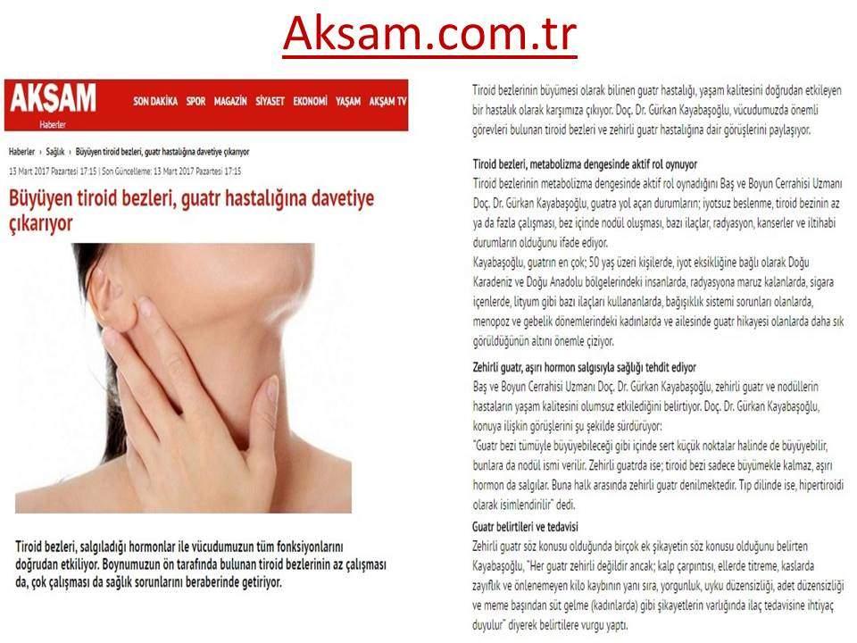 Akşam Gazetesi Büyüyen Tiroid Bezleri Guatr Hastalığına Davetiye Çıkarıyor