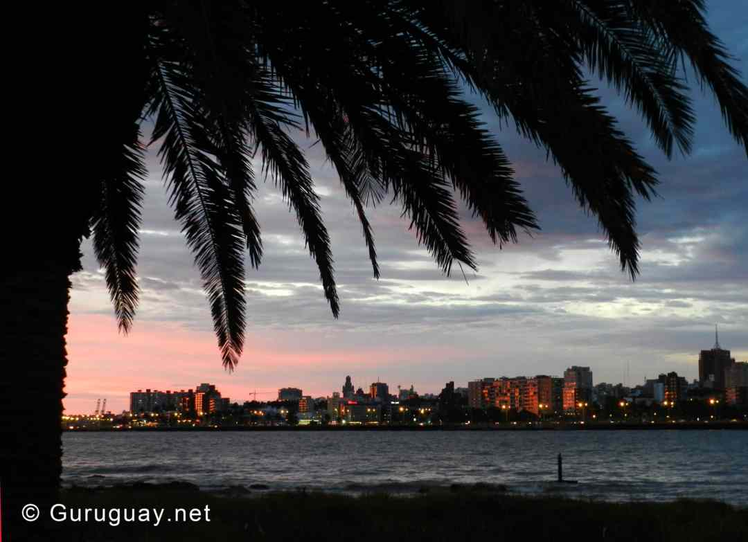 Sunset from Parque Rodó and Playa Ramirez in Montevideo. Best time to visit Uruguay.