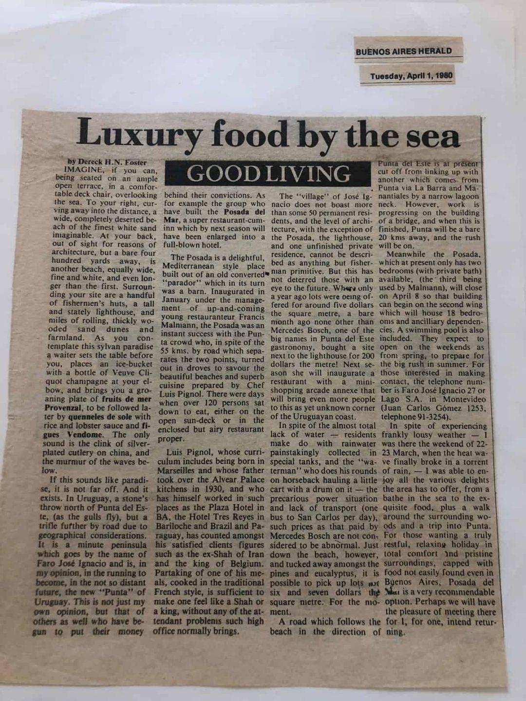 Newspaper clippings from the '80s and '90s on José Ignacio - jose ignacio uruguay beach