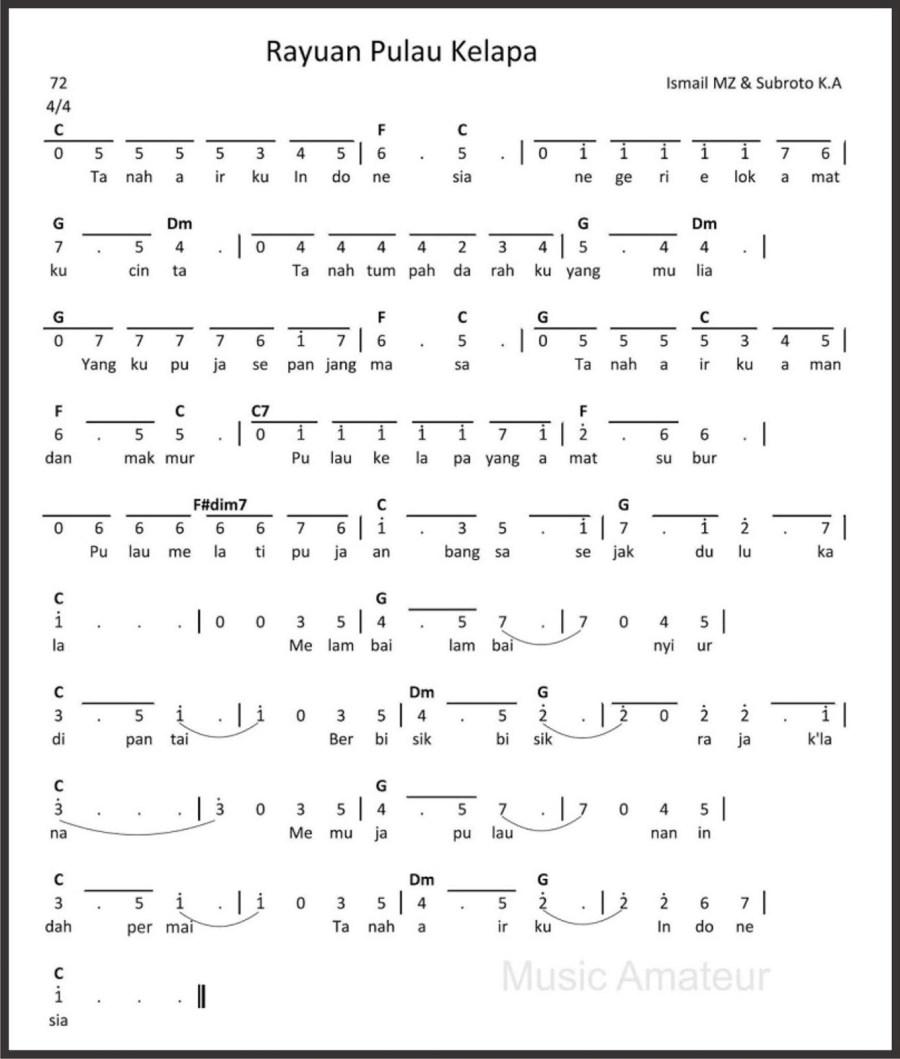 syair dan cord lagu wajibRayuan Pulau Kelapa