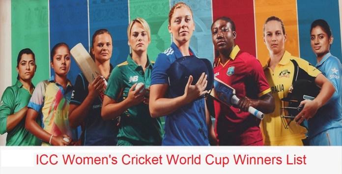 ICC Women's Cricket World Cup Winners List