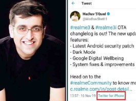 Realme India CEO Tweets Using iPhone
