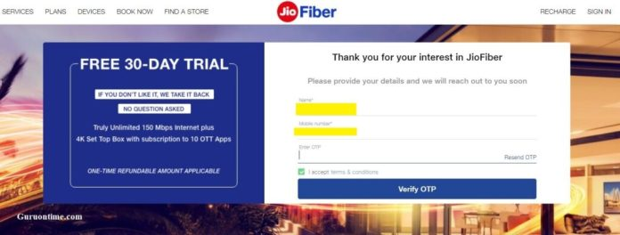 Jio Giga Fiber Booking