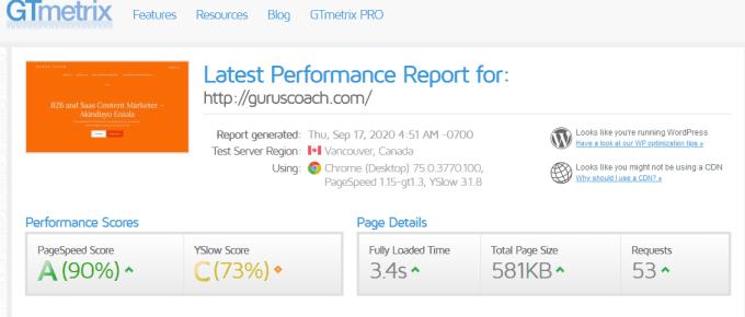 gtmetrix page speed test report for guruscoac