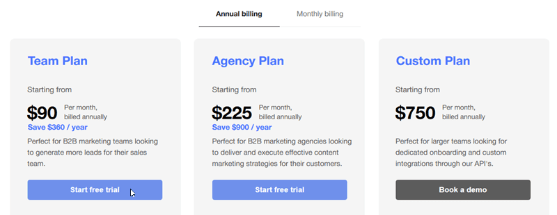StoryChief Pricing Page