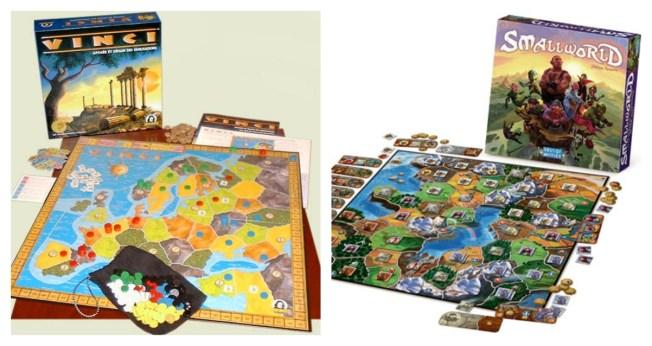 Vinci, sorti en 1999, et Small World, 2009. Le même jeu, environ.