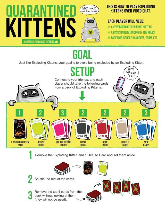 Confinement : Une version spéciale pour jouer à Exploding Kittens en vidéoconférence