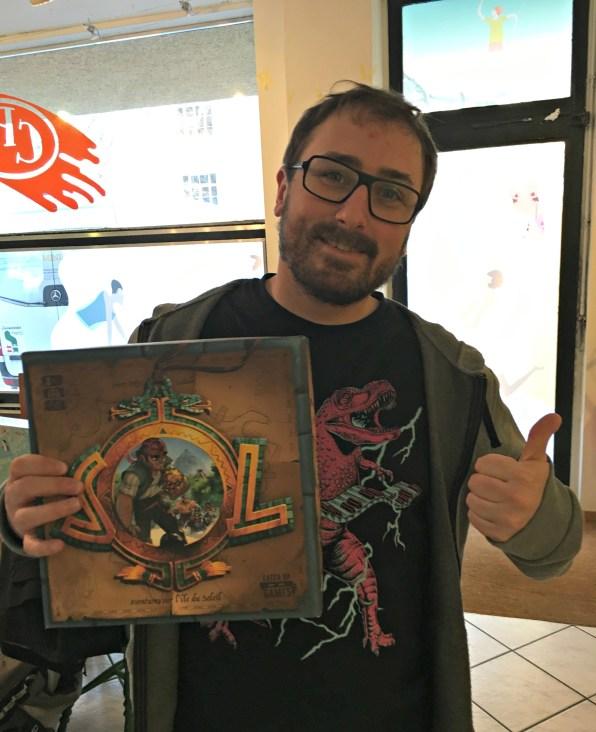 Sébastien, co-éditeur de Catch Up Games, venu de Lyon nous présenter SOL en avant-première