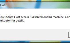 Windows Script Host access is disabled on this machine, Contact your administrator for details