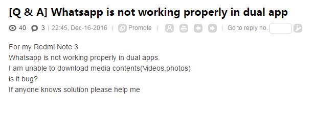 Whatsapp is not working properly in dual app