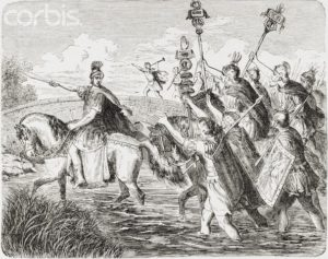 Julius Caesar crossing the Rubicon riding on Genitor
