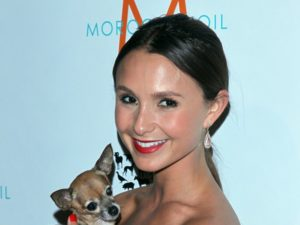 Georgina Bloomberg with a Dog at the 2011 To the Rescue! Gala.