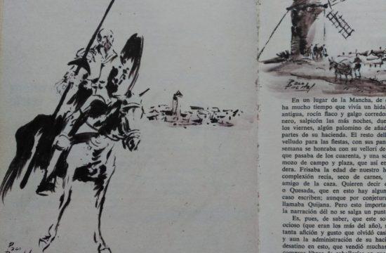 Don Quixote riding Rocinante