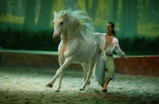 Frederick Pignon and a White Horse in scene