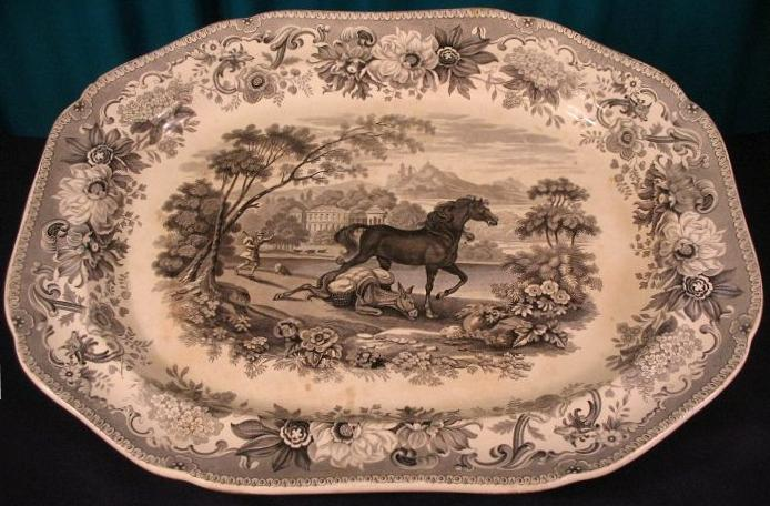 "Spode Platter about Aesop Fable ""the horse and the ass"""