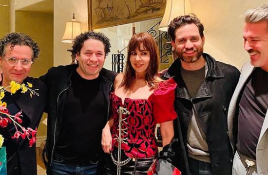 Alberto Arvelo, Gustavo Dudamel, Mimi Lazo, Edgar Ramirez y Rene Solelo - from left to right - Birthday of Rene Sotelo