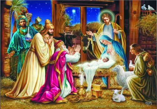 Nativity scene of the baby jesus and The Three Wise Men - Christmas Celebrations