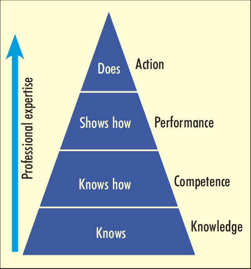 Miller's pyramid for assessing clinical competence adapted from Norcini