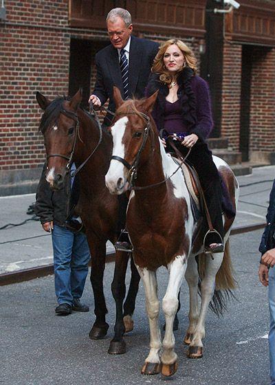 Madonna riding with David Leterman
