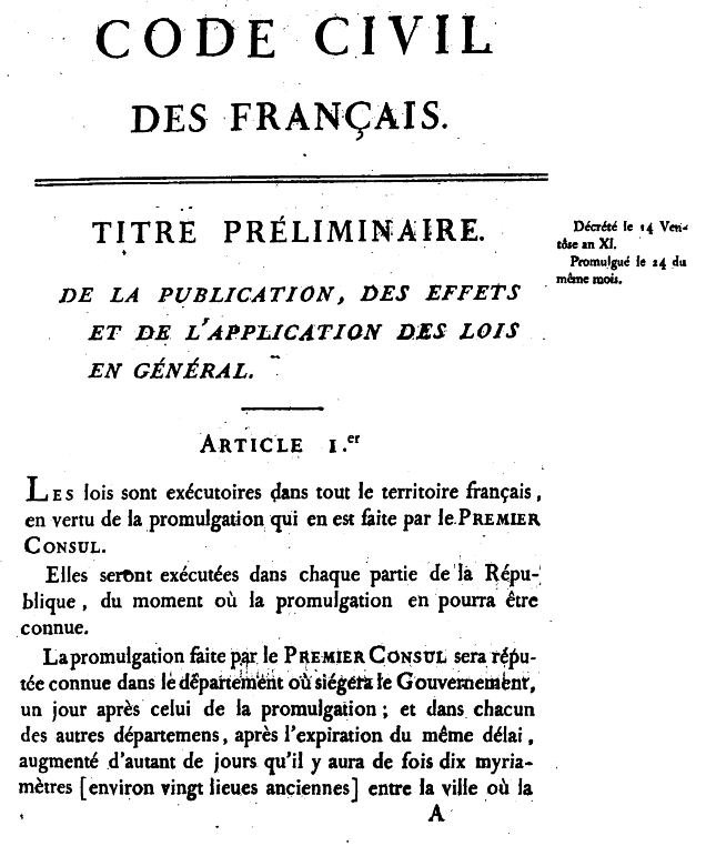The French Civil Code, better known as the Naopoleonic Code