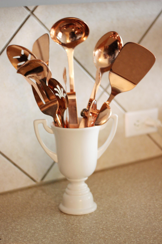 copper kitchen utensil holder industrial lighting fixtures for utensils and white grey