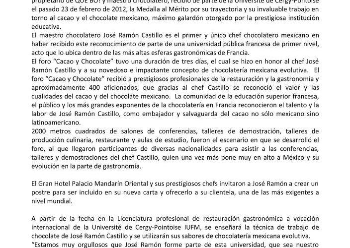 Comunicado Prensa Université de Cergy-Pontoise otorga Medalla Mérito a «Chef José Ramón Castillo»