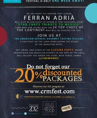 """Compra tus boletos para """"Cancún – Riviera Maya Wine & Food Festival"""""""