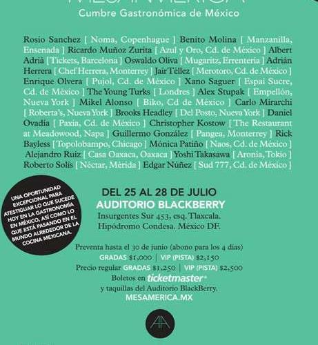 """MesaAmérica @mesamerica_mx """"Cumbre Gastronómica de México"""" 25 al 28 de Julio"""