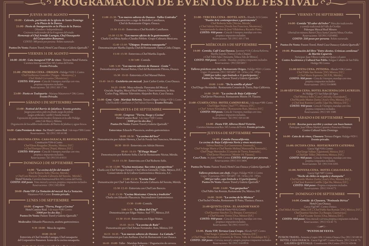 """Programa Festival """"El Saber del Sabor"""" @saberdelsabor @oaxaca_turismo"""