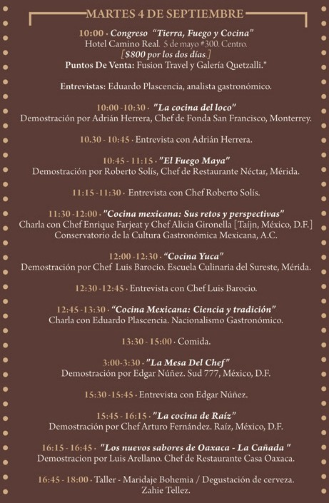 "Programa Martes 4 de Septiembre Festival ""El Saber del Sabor"" @saberdelsabor #FESS2012"
