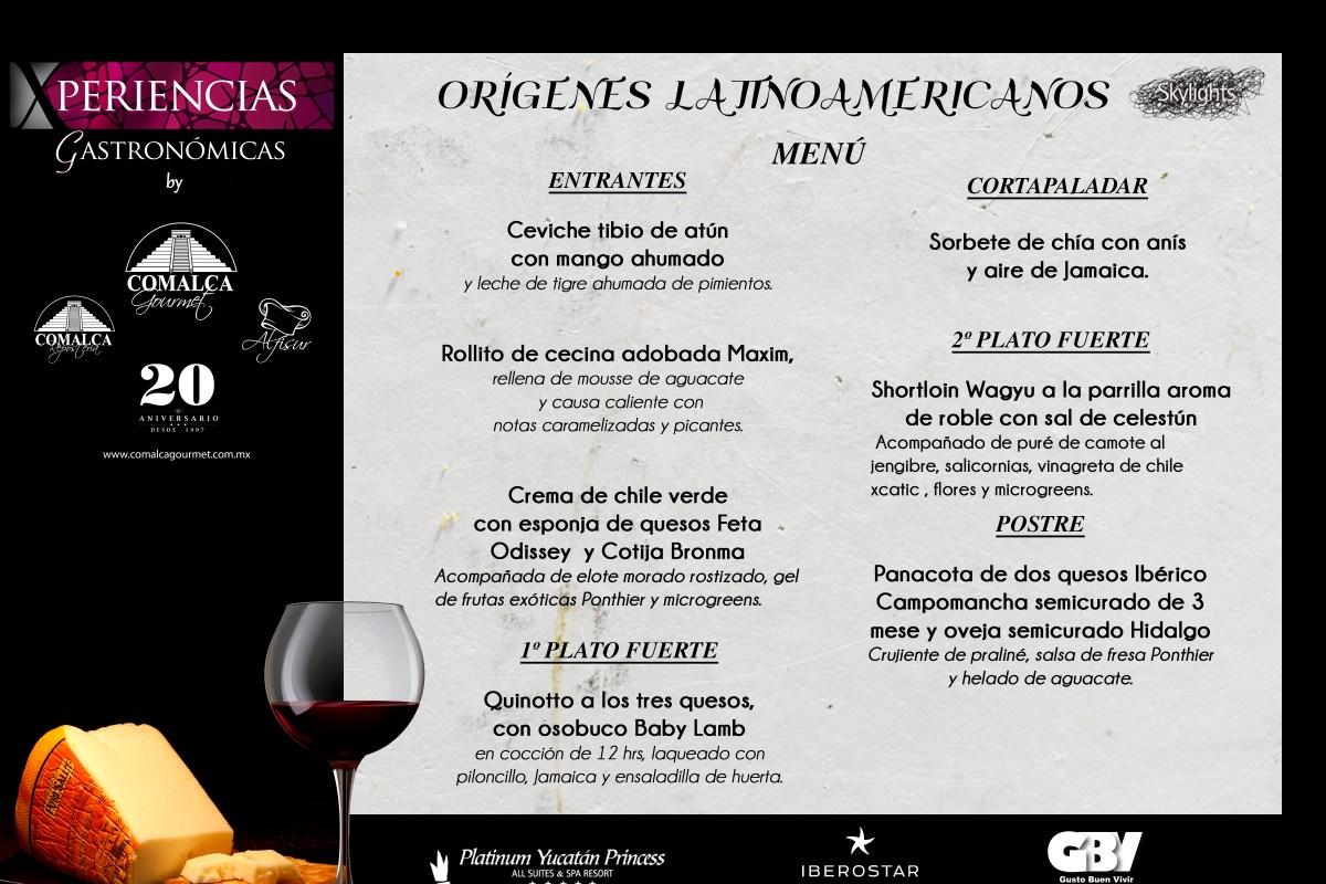 Menú Cena Maridaje Orígenes Latinoamericanos