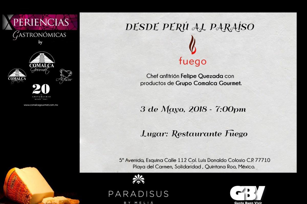Invitación Cena Maridaje Desde Perú al Paraíso: 3 Mayo