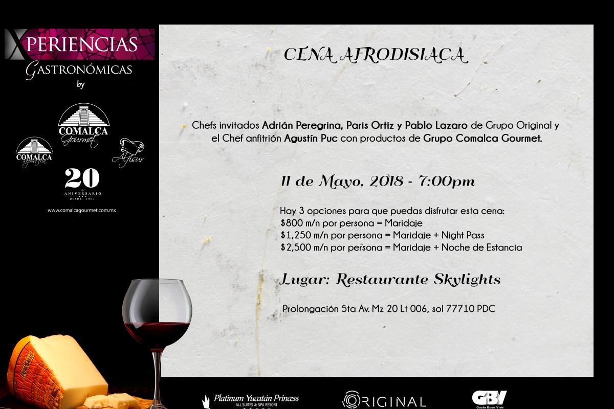 Invitación próxima Cena Maridaje 11 Mayo #XperienciasGastronómicas