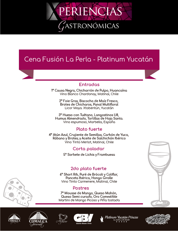 Menú de la Cena Fusión La Perla – Platinum Yucatan @PrincessHotels