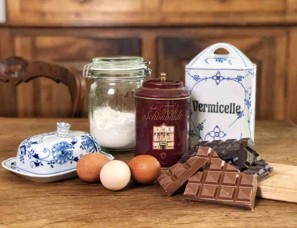 Schokoladen Brownies: Alle Zutaten auf einem Blick.