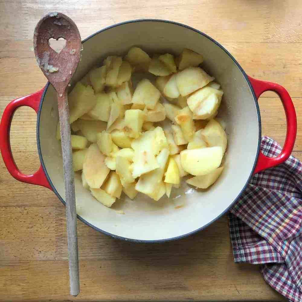 Apfelstücke sehr weich kochen.