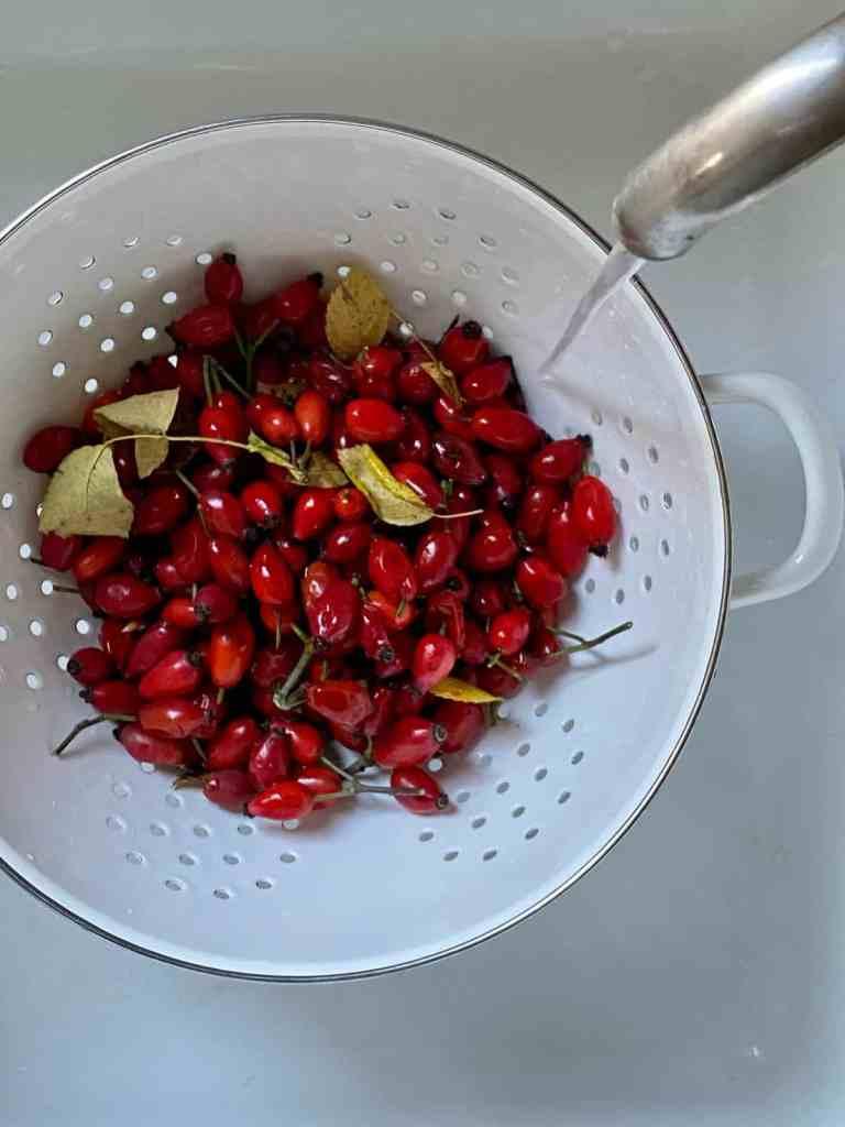 Die Früchte waschen.
