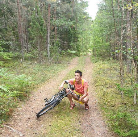 Kreuzspinnen auf dem Waldweg zwingen mich zum Limbo Tanz