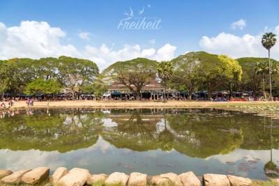 Angkor Wats Verkaufsstände unter schattigen Bäumen