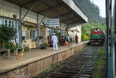 Der Gegenzug fährt ein und der Bahnhofsvorsteher überreicht dem Zugführer den Token