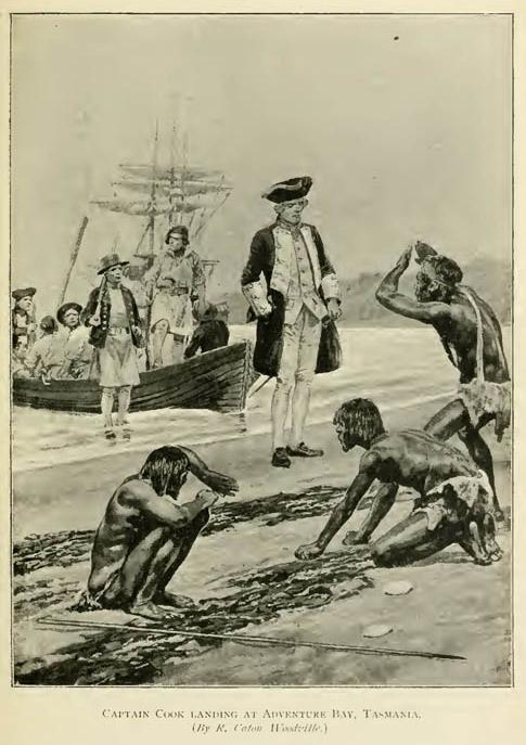 Captain Cook landing at Adventure Bay, Tasmania. (By R. Caton Woodville.)