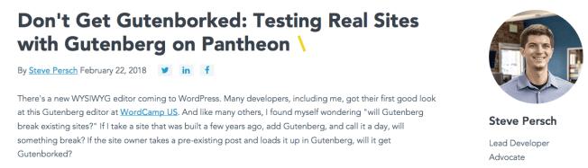Screenshot of Article at Pantheon website