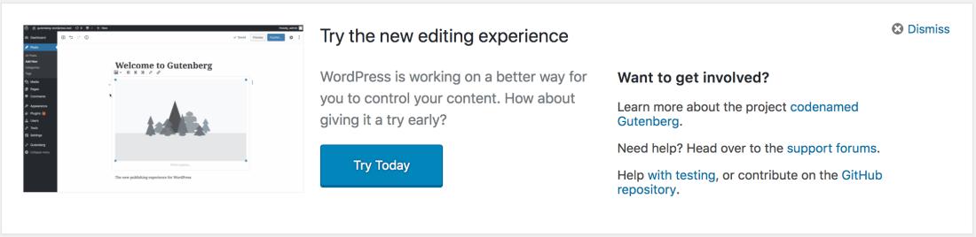 Try Gutenberg prompt in WordPress Dashboard version 4.9.5